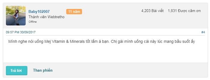 Đánh giá từ khách hàng về Mej Vitamin Minerals