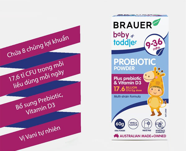 Công dụng của Brauer Baby and Toddler Probiotic