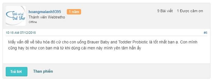 Có nên sử dụng Brauer Baby and Toddler Probiotic