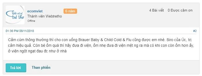 Review webtretho về Brauer Baby & Child Cold & Flu