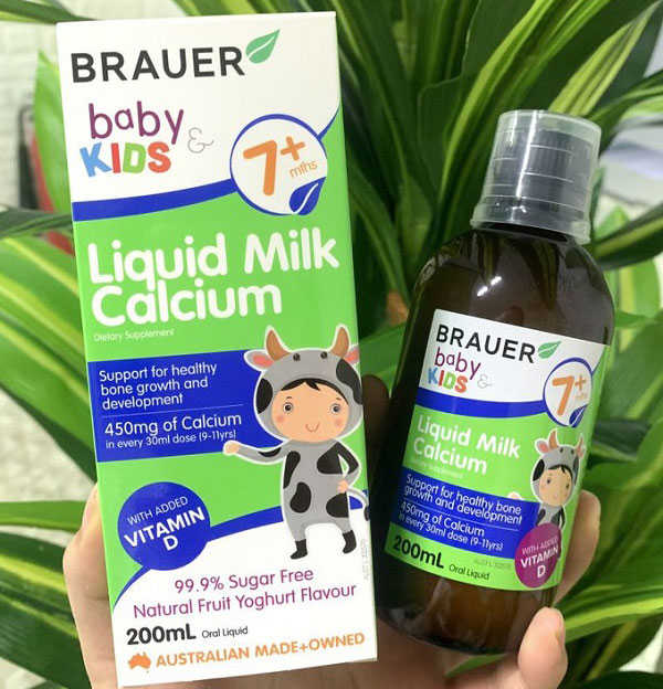 brauer baby & kids liquid milk calcium 200ml, brauer baby and kids milk calcium liquid 200ml