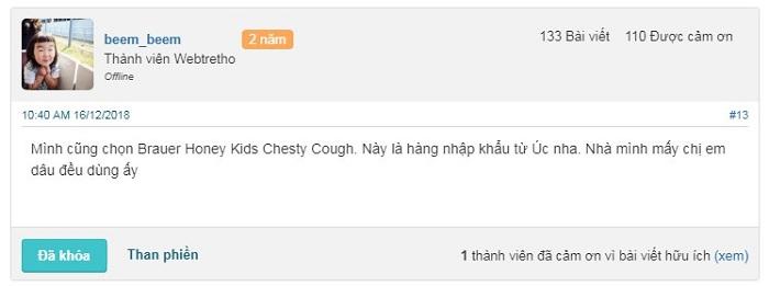 Đánh giá hiệu quả của Brauer Honey Kids Chesty Cough