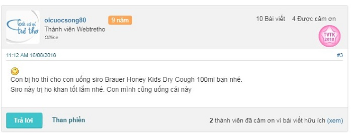 Review webtretho về sản phẩm Brauer Honey Kids Dry Cough