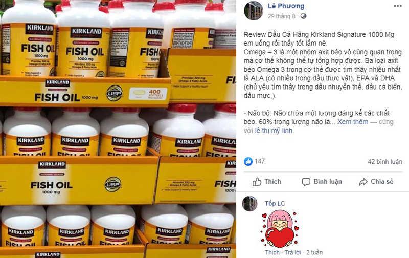 Omega3 Kirkland Signature Fish Oil có tốt không, dầu cá fish oil kirkland 1000mg 400 viên, kirkland fish oil 1000mg giá, review dầu cá kirkland