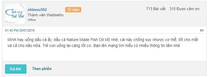Review webtretho về dầu cá Nature Made Fish Oil