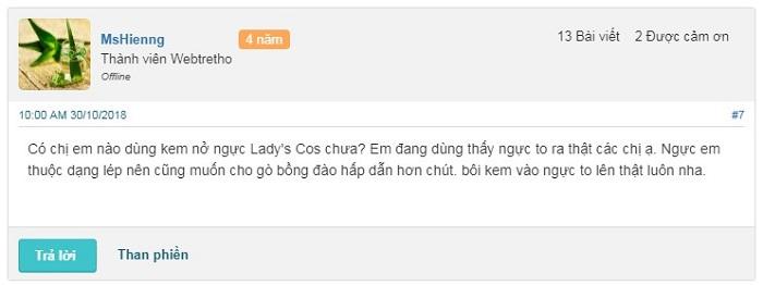 Review webtretho về kem nở ngực Lady's Cos