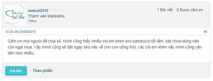 siro sambucol có tốt không, review sambucol webtretho, uống bao lâu, nên uống sambucol vào lúc nào.