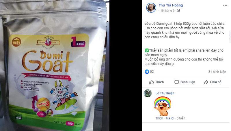 Feedback từ khách hàng về sữa dê Dumi Goat 1