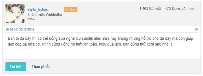 Review webtretho về sữa nghệ Curcumilk