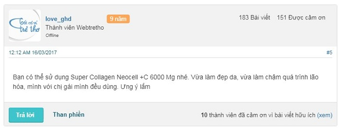 Review webtretho về Super Collagen Neocell