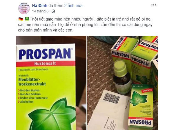 siro ho prospan đức nắp xanh 100ml cho trẻ sơ sinh, của đức, cách sử dụng thuốc siro ho prospan của đức, liều dùng, có tốt không, giá bao nhiêu.