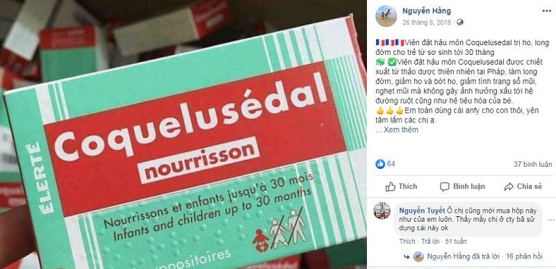 coquelusedal, review thuốc ho coquelusedal nourrisson, viên nhét hậu môn trị ho.