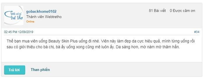 Review webtretho về viên uống Beauty Skin Plus