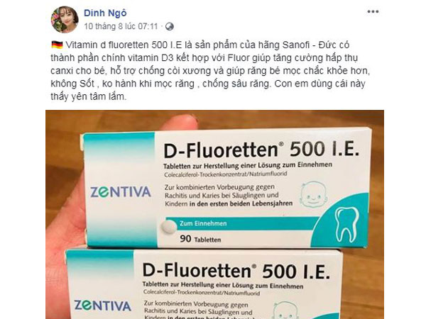 vitamin d fluoretten 500 ie có tốt không, cách dùng, zentiva, review giá bao nhiêu, của đức, sanofi aventis, giả.