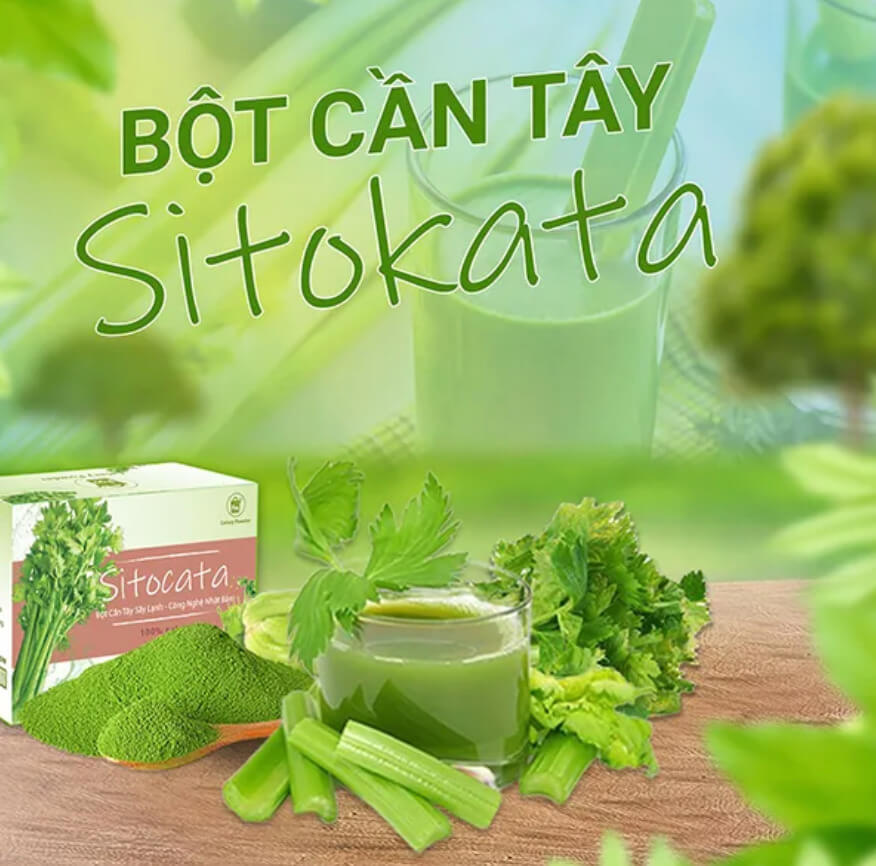 Review bột cần tây giảm cân Sitokata có tốt không webtretho, giá bao nhiêu?
